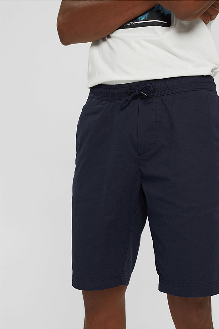 Shorts with elasticated waistband, 100% cotton, NAVY, detail image number 2