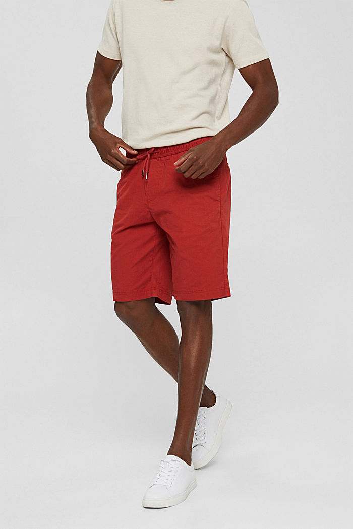 Shorts with elasticated waistband, 100% cotton, RED, detail image number 6