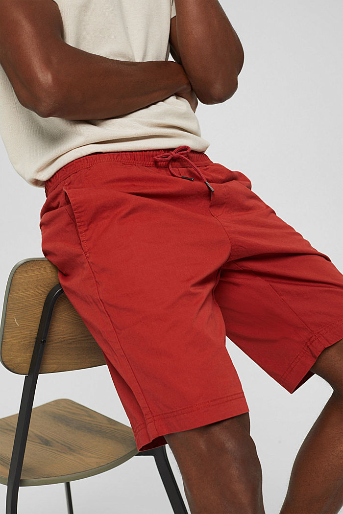 Shorts with elasticated waistband, 100% cotton, RED, detail image number 2