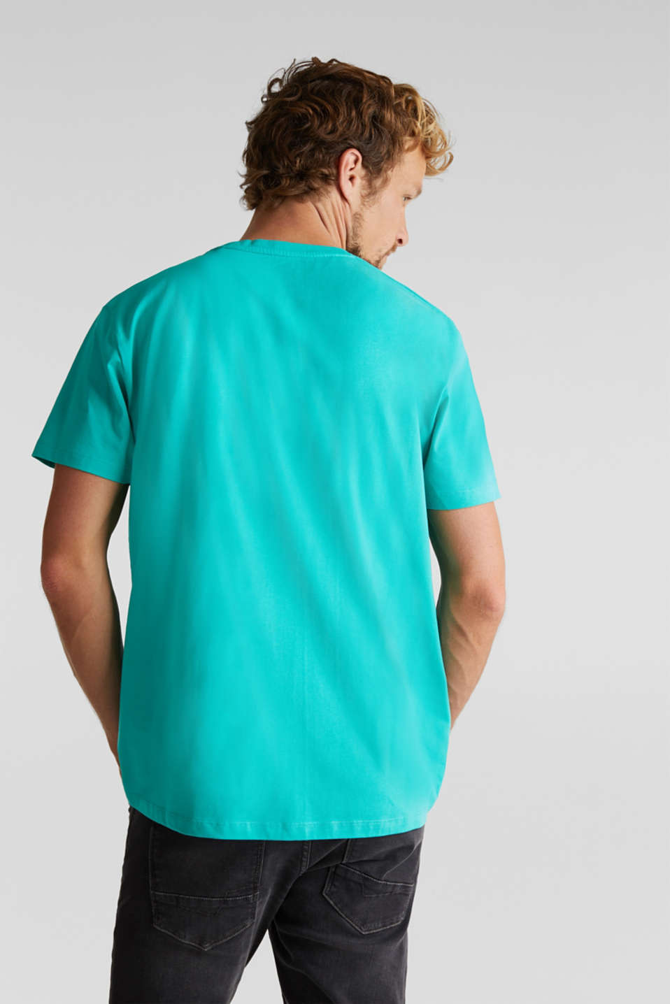 Jersey print top, 100% organic cotton, AQUA GREEN 2, detail image number 3