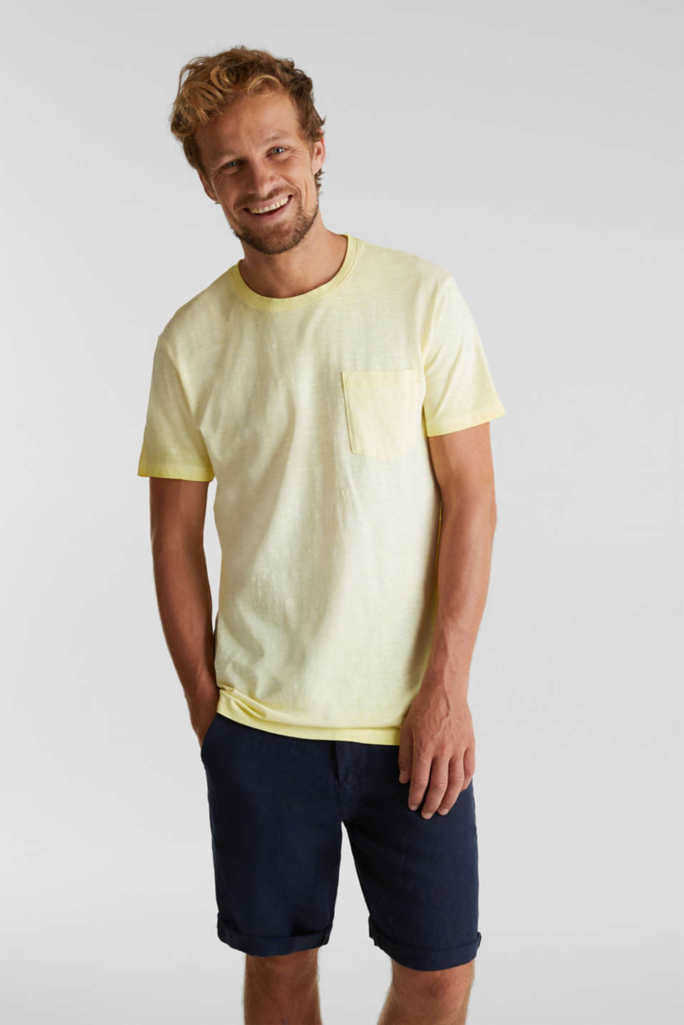 Jersey top made of 100% organic cotton, LIGHT YELLOW 2, detail image number 0