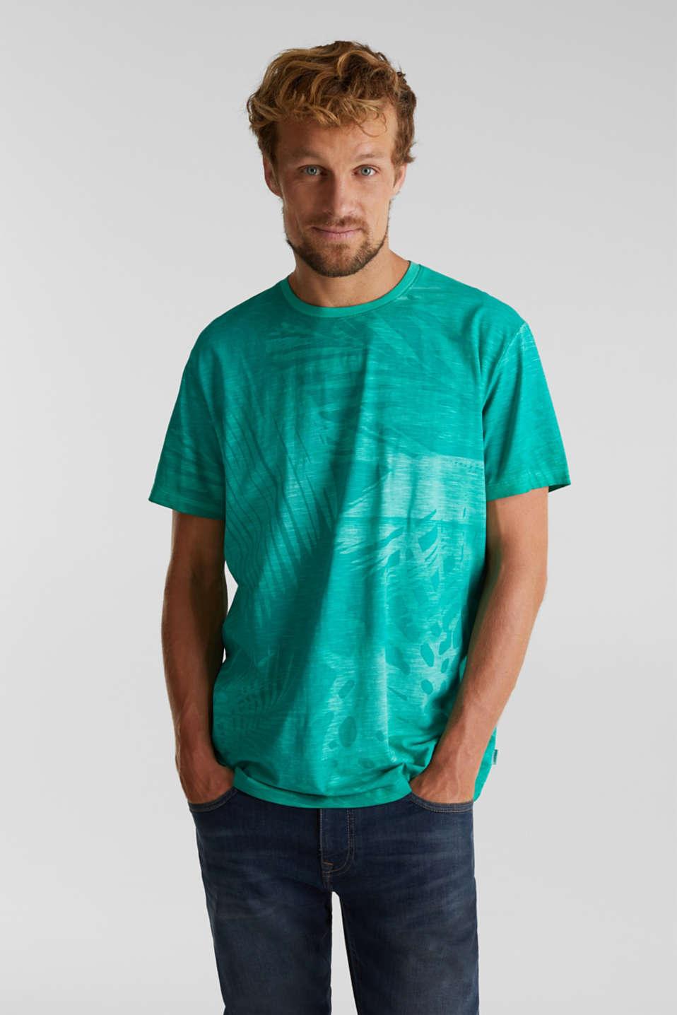 Jersey print top, 100% organic cotton, AQUA GREEN 4, detail image number 0