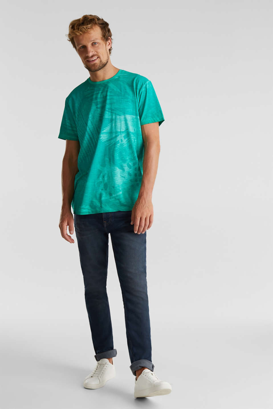 Jersey print top, 100% organic cotton, AQUA GREEN 4, detail image number 2