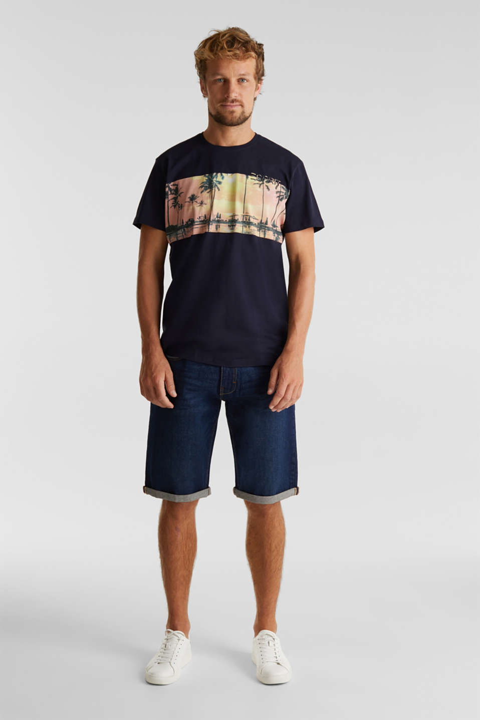 Jersey print top, 100% organic cotton, NAVY, detail image number 2
