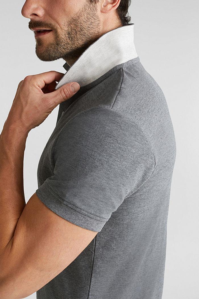 Melange piqué polo shirt, DARK GREY, detail image number 1