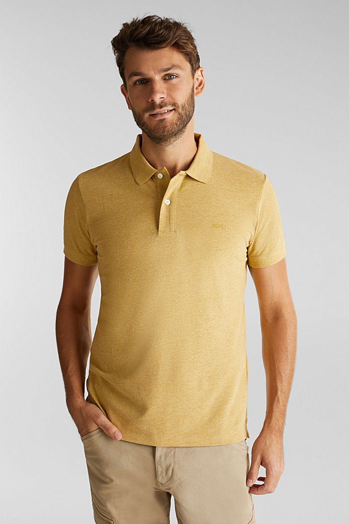 Melange piqué polo shirt, YELLOW, overview