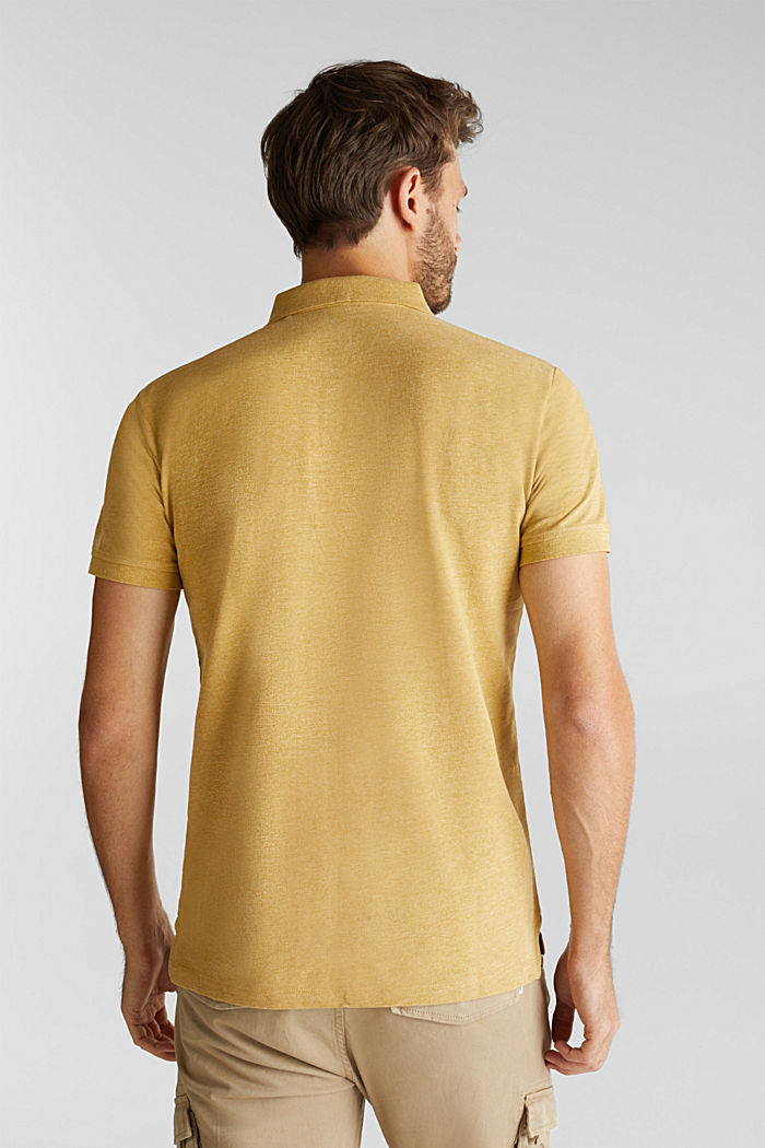 Melange piqué polo shirt, YELLOW, detail image number 3