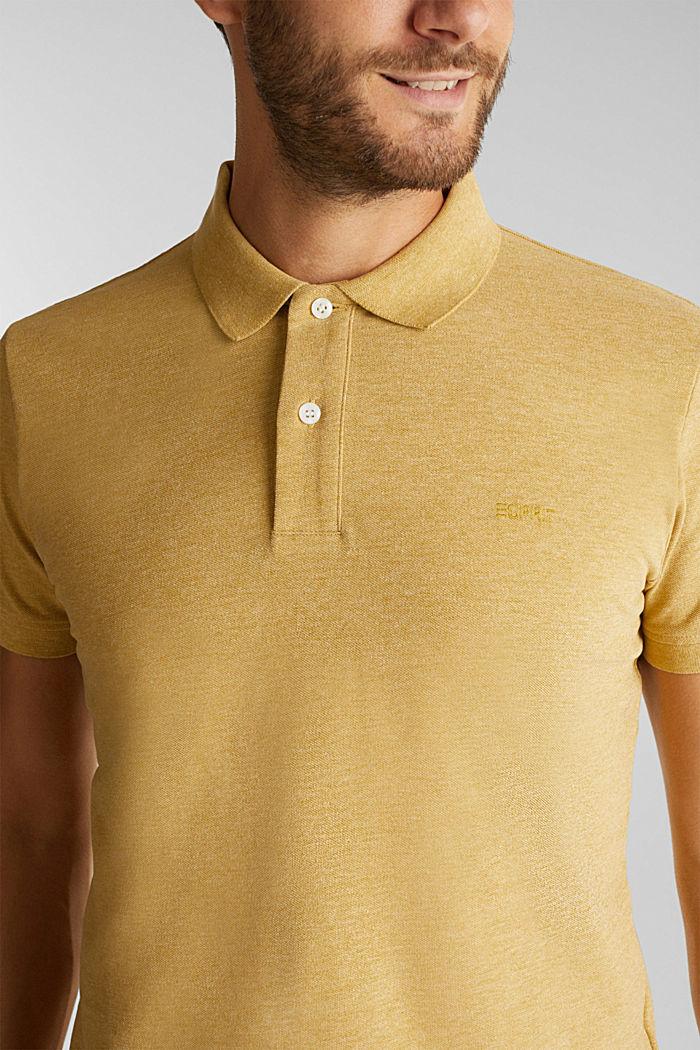 Melange piqué polo shirt, YELLOW, detail image number 4
