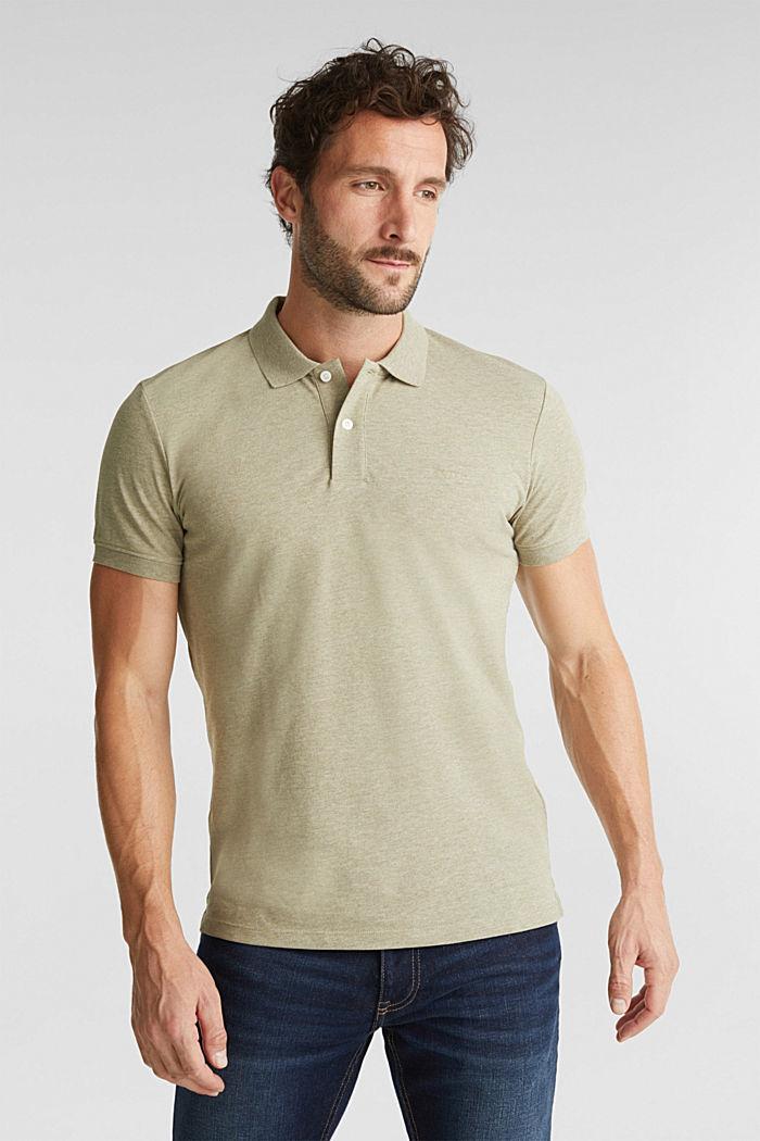 Melange piqué polo shirt, OLIVE, detail image number 0