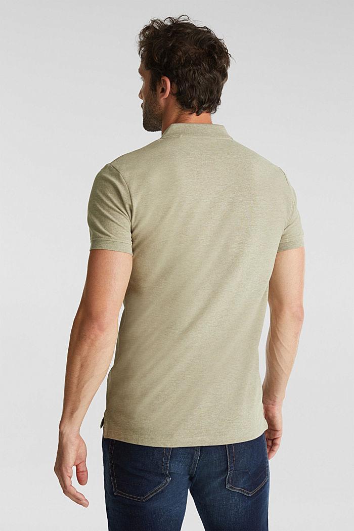 Melange piqué polo shirt, OLIVE, detail image number 3