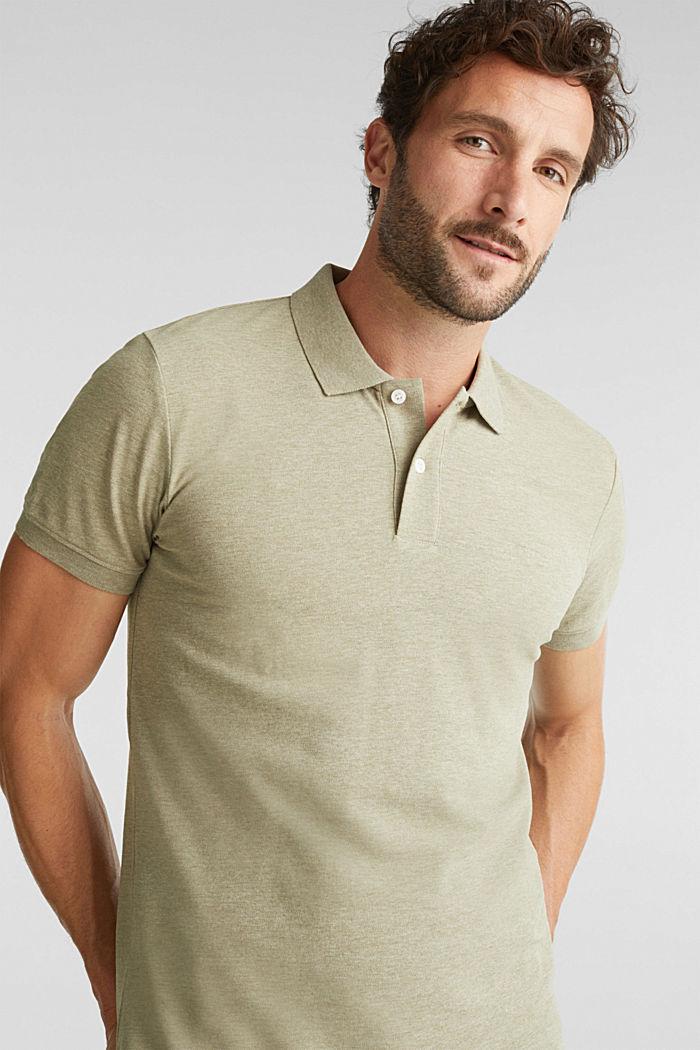 Melange piqué polo shirt, OLIVE, detail image number 5