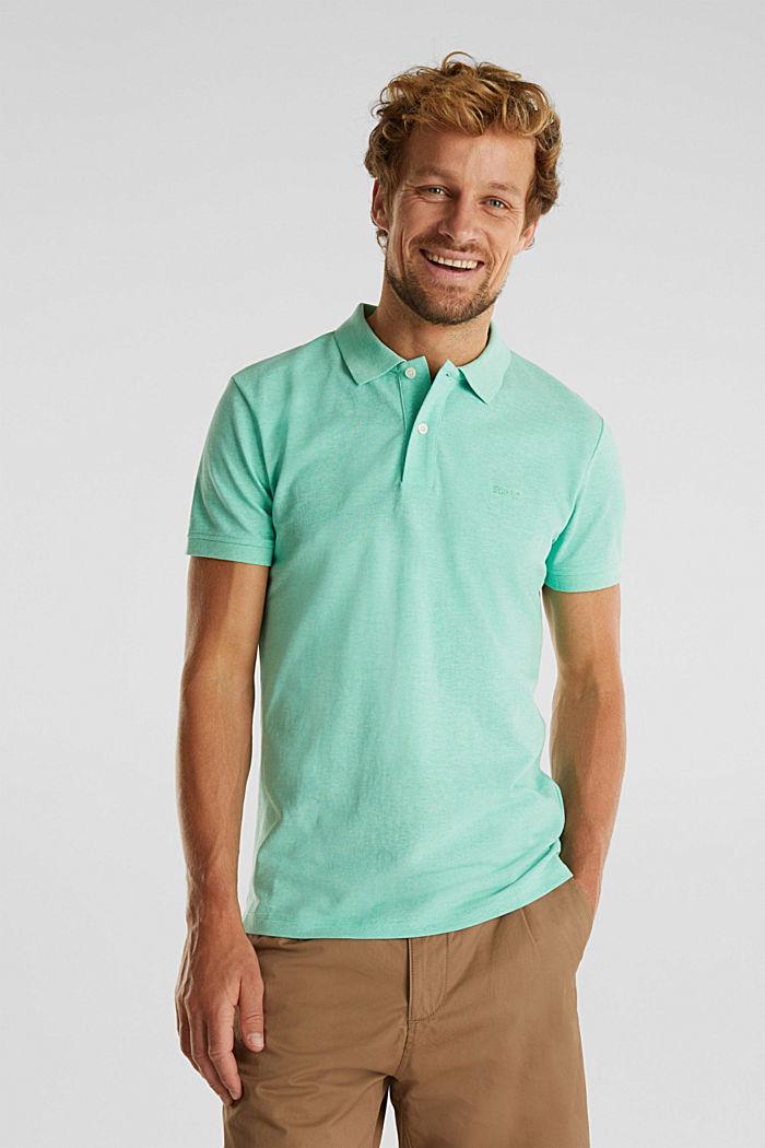 Melange piqué polo shirt, AQUA GREEN, detail image number 0
