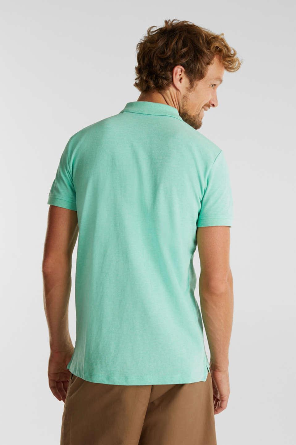 Melange piqué polo shirt, AQUA GREEN 5, detail image number 3