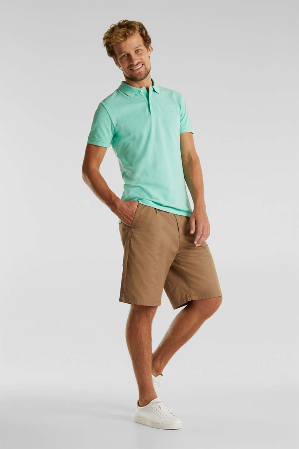 Melange piqué polo shirt, AQUA GREEN 5, detail image number 2