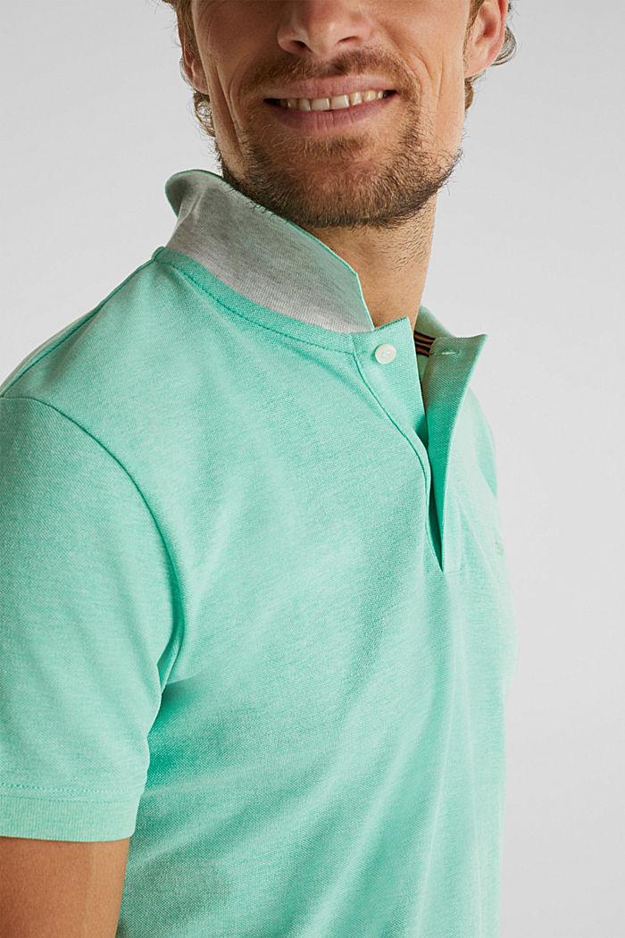 Melange piqué polo shirt, AQUA GREEN, detail image number 1