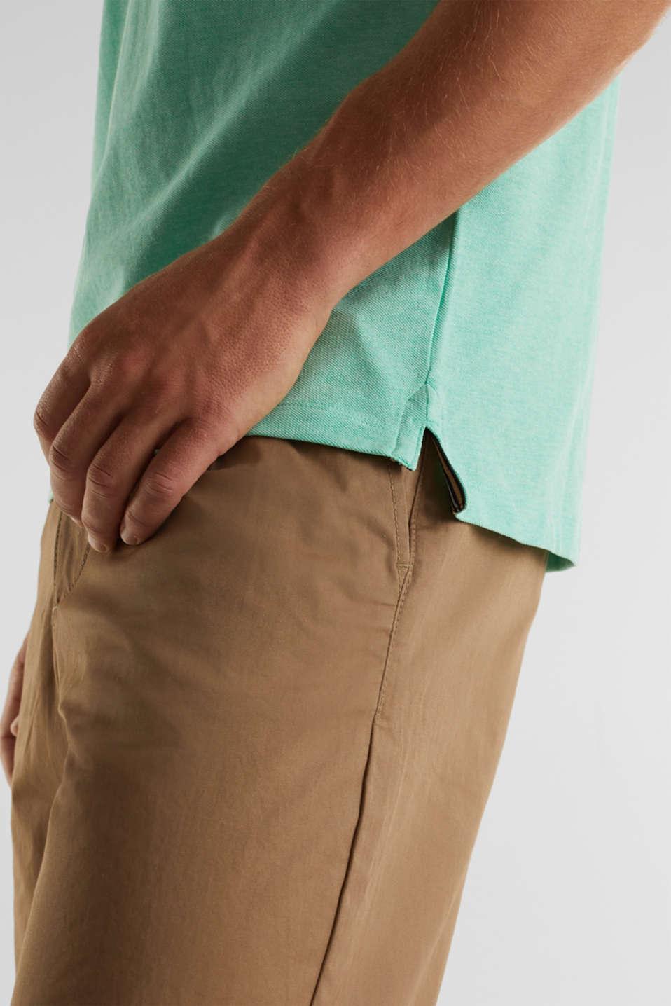 Melange piqué polo shirt, AQUA GREEN 5, detail image number 4
