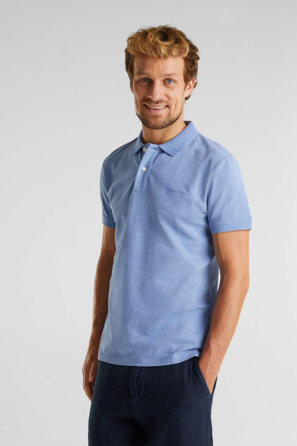 Melange piqué polo shirt, BLUE 5, detail image number 0