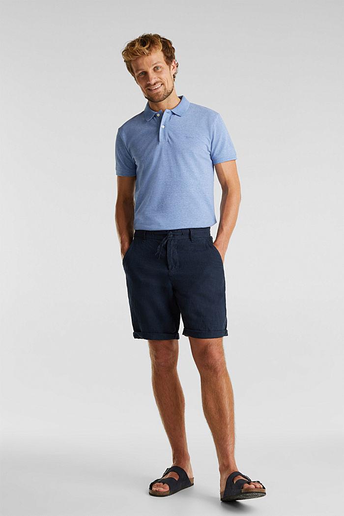 Melange piqué polo shirt, DARK BLUE, detail image number 2