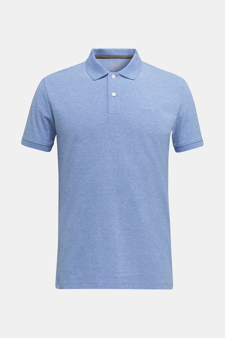 Melange piqué polo shirt, BLUE 5, detail image number 6