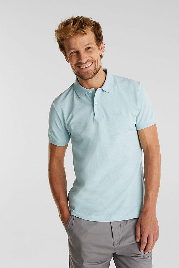 Melange piqué polo shirt, LIGHT BLUE, detail image number 0