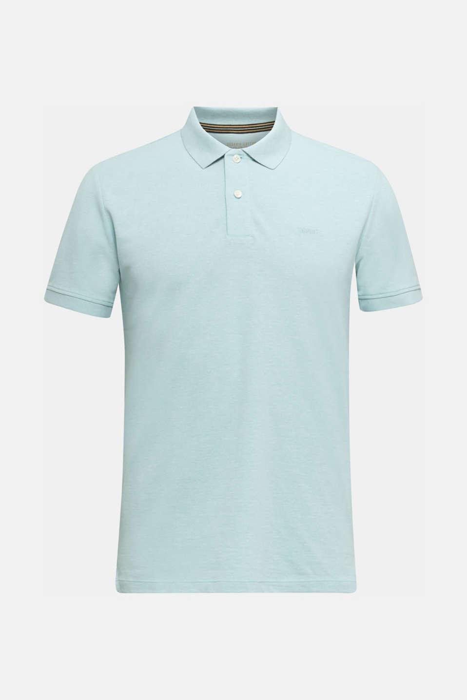 Melange piqué polo shirt, LIGHT BLUE 5, detail image number 5
