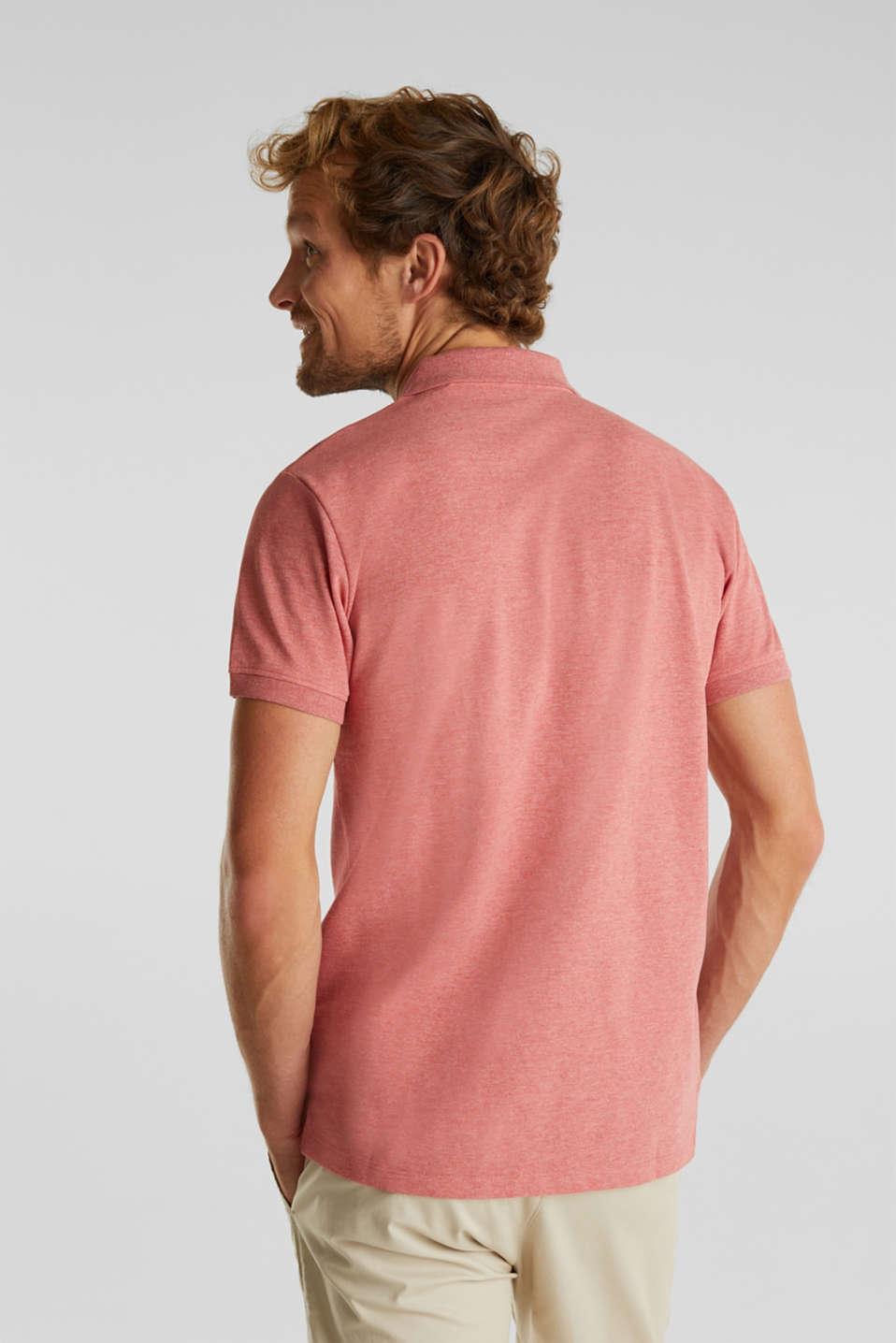 Melange piqué polo shirt, CORAL RED 5, detail image number 3