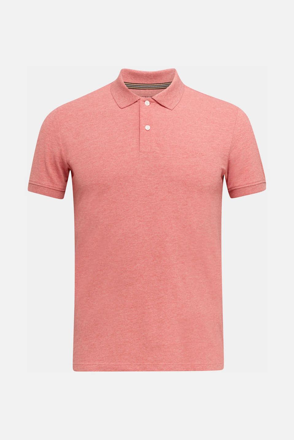 Melange piqué polo shirt, CORAL RED 5, detail image number 5