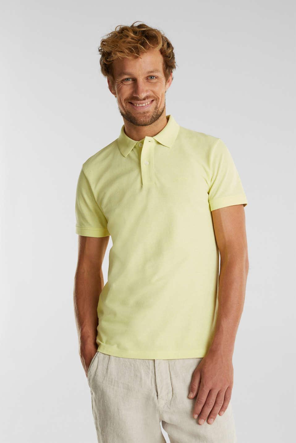 Melange piqué polo shirt, LIGHT YELLOW 5, detail image number 0