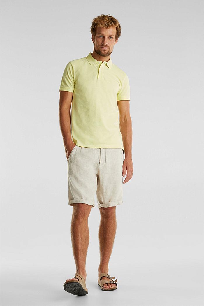 Meliertes Piqué Poloshirt, LIGHT YELLOW, detail image number 2