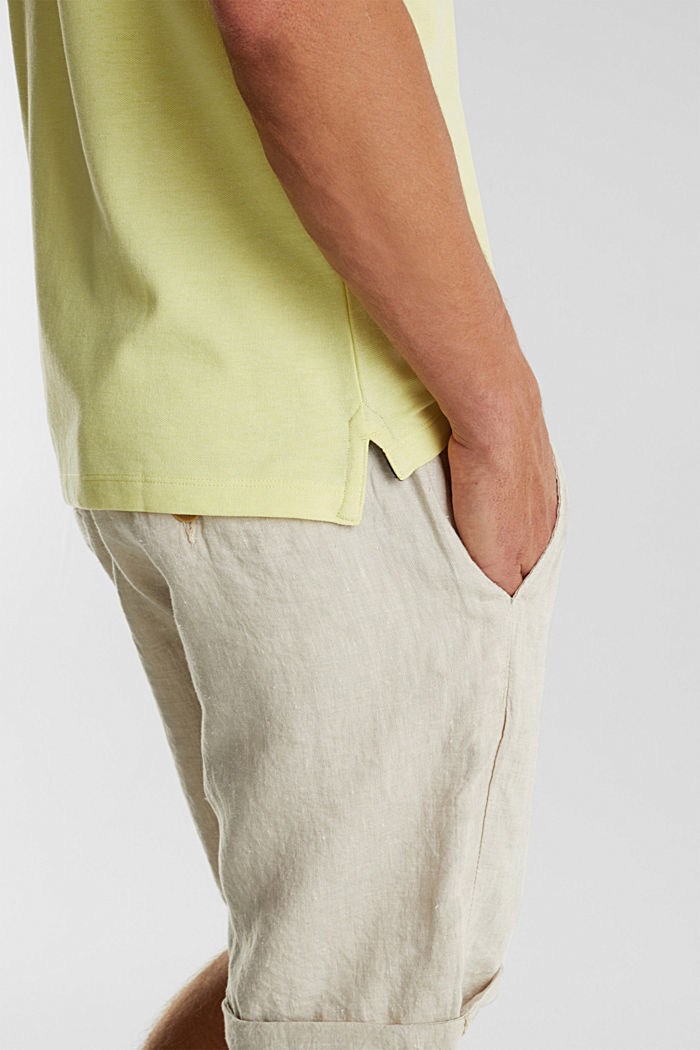 Meliertes Piqué Poloshirt, LIGHT YELLOW, detail image number 1