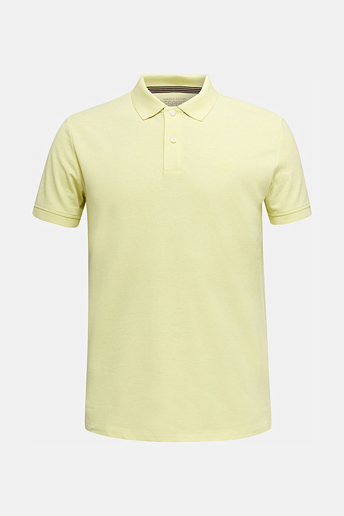 Melange piqué polo shirt, LIGHT YELLOW, overview