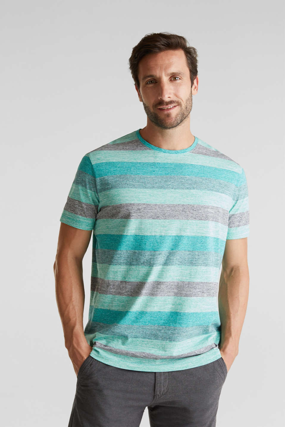Striped jersey T-shirt, AQUA GREEN 5, detail image number 0