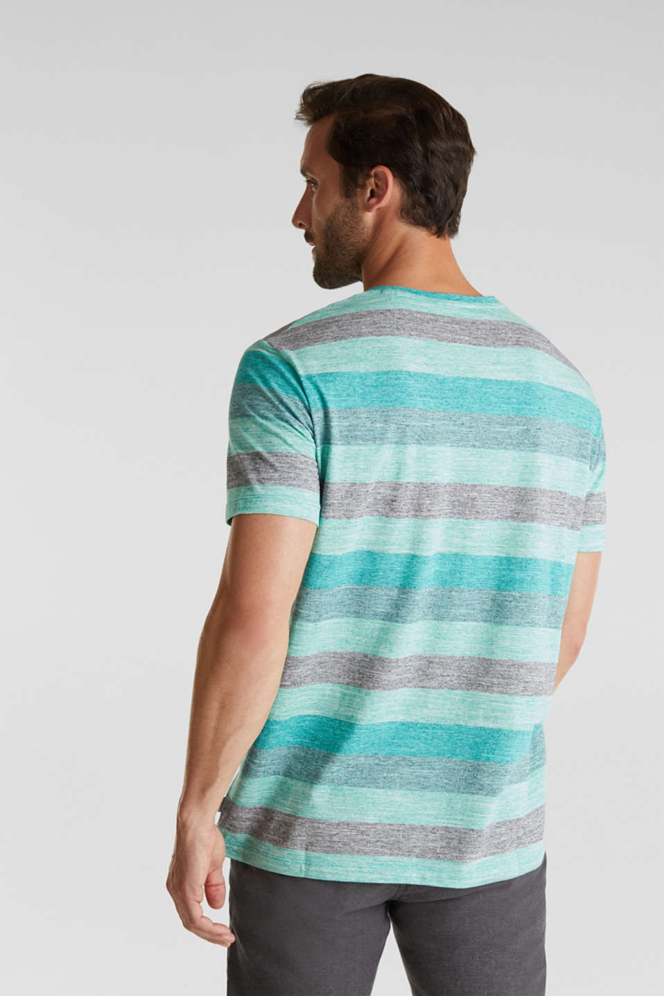 Striped jersey T-shirt, AQUA GREEN 5, detail image number 3