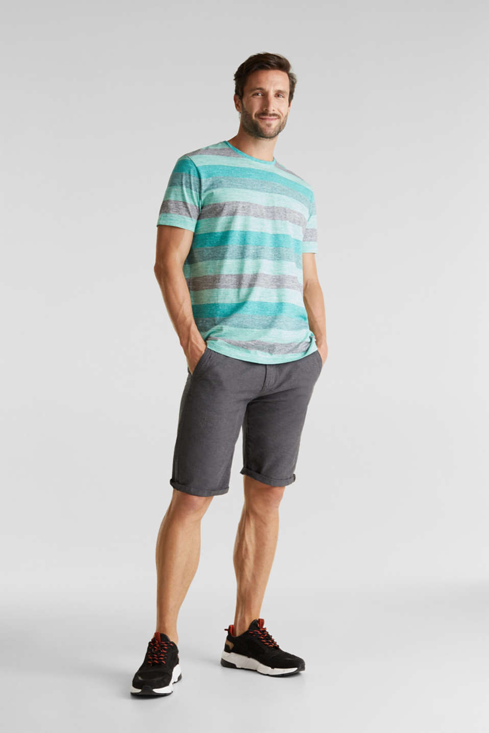 Striped jersey T-shirt, AQUA GREEN 5, detail image number 2