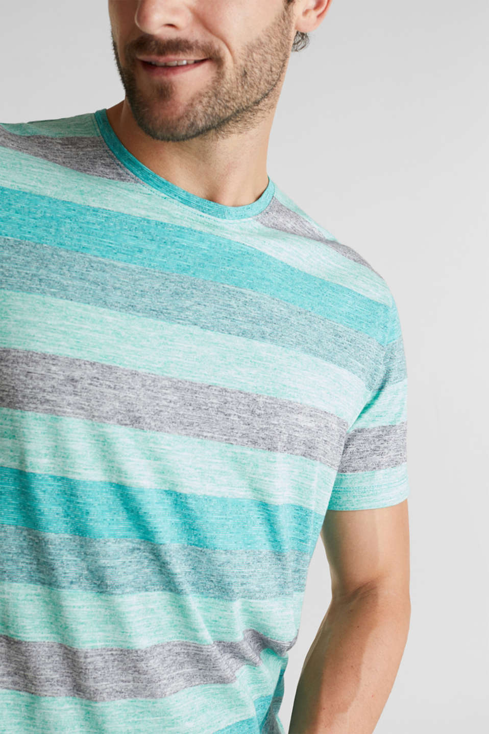 Striped jersey T-shirt, AQUA GREEN 5, detail image number 1