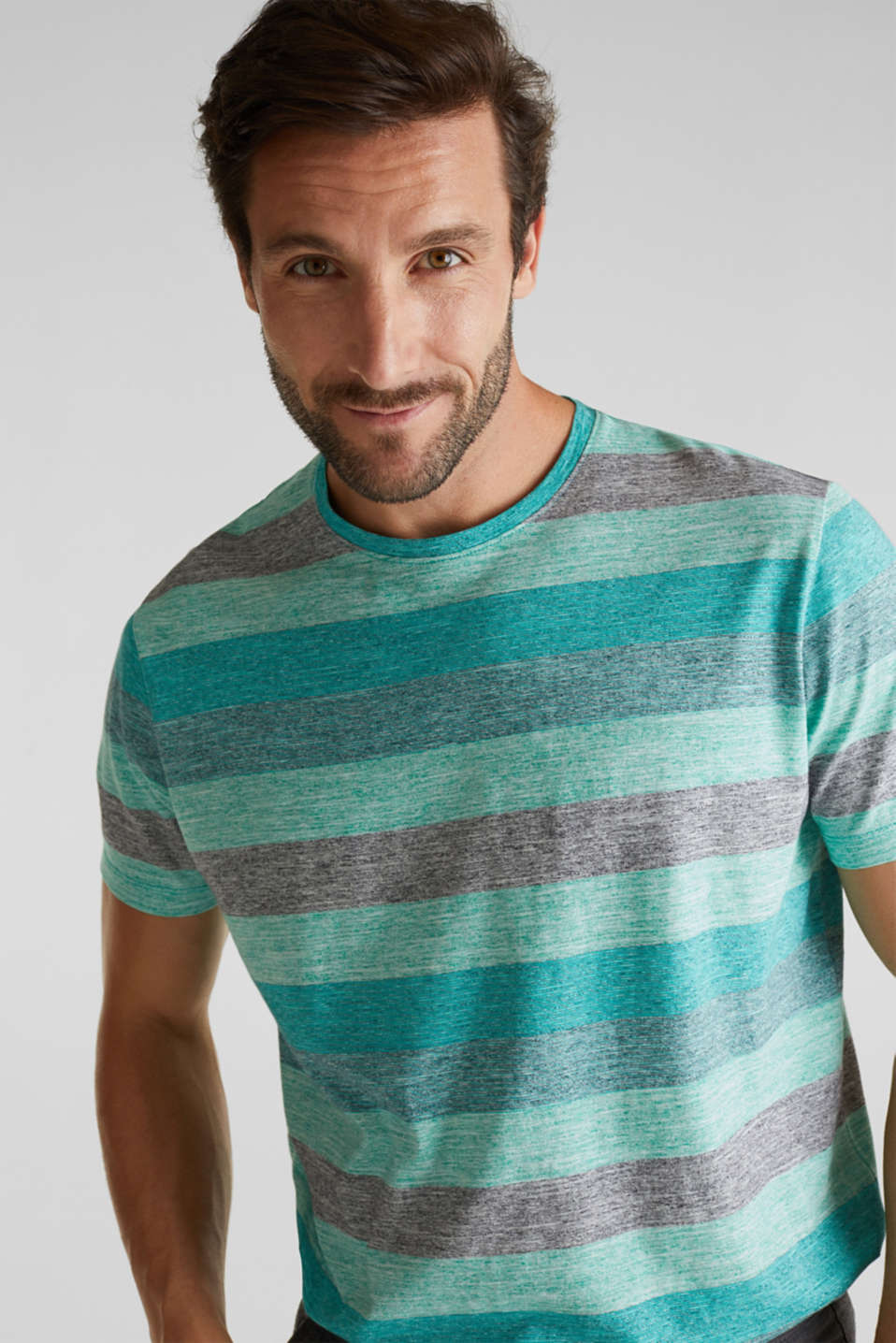 Striped jersey T-shirt, AQUA GREEN 5, detail image number 5