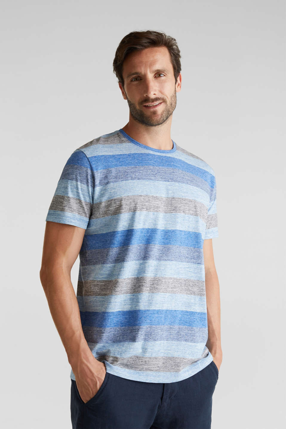 Striped jersey T-shirt, BLUE 5, detail image number 0