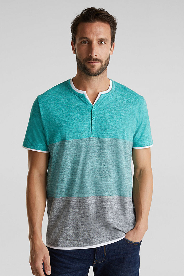 Henley top in jersey with layered details, AQUA GREEN, detail image number 0