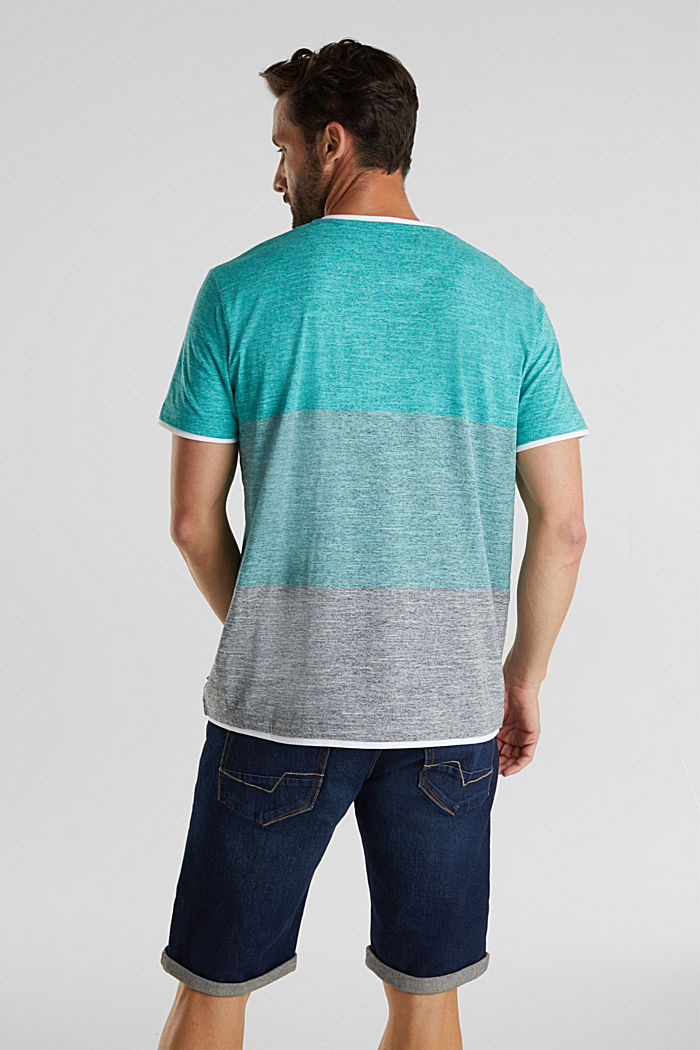 Henley top in jersey with layered details, AQUA GREEN, detail image number 3