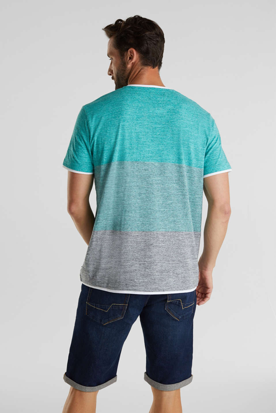 Henley top in jersey with layered details, AQUA GREEN 5, detail image number 3