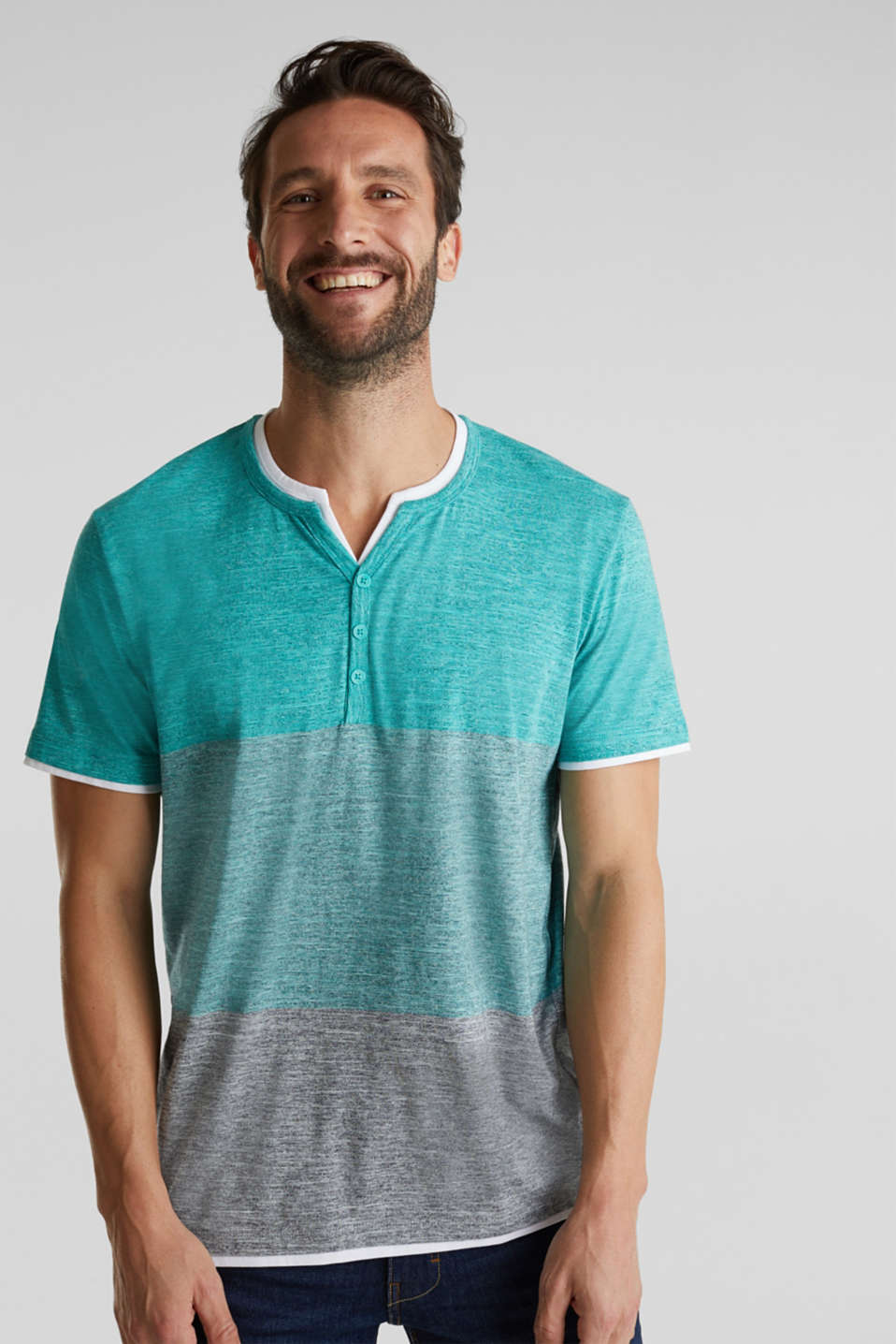 Henley top in jersey with layered details, AQUA GREEN 5, detail image number 4