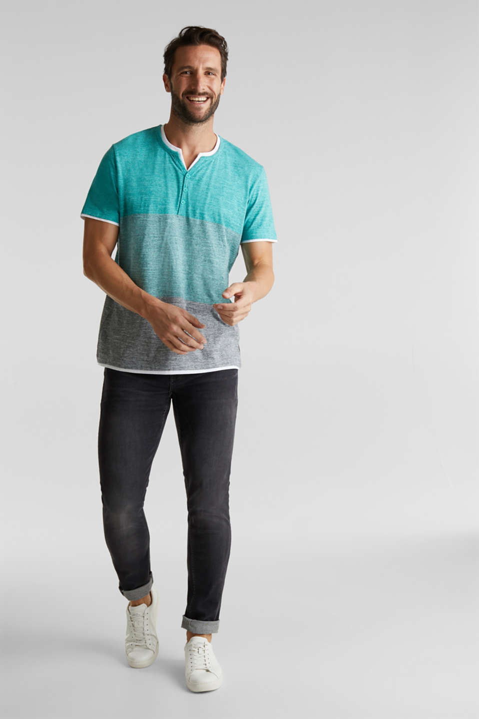Henley top in jersey with layered details, AQUA GREEN 5, detail image number 6