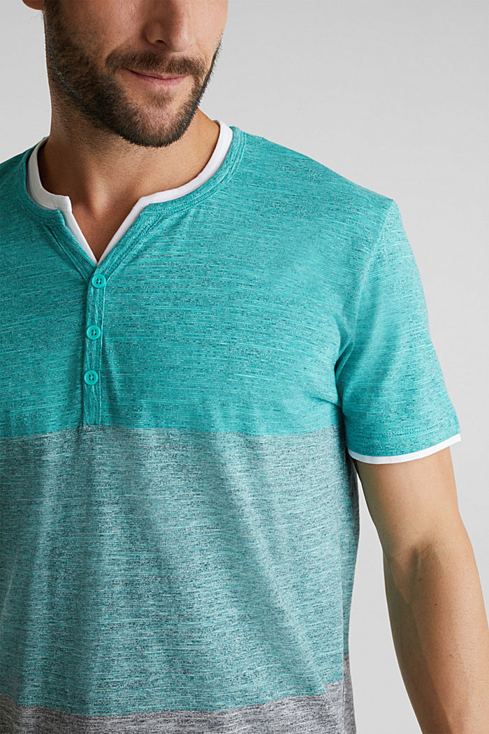 Henley top in jersey with layered details, AQUA GREEN, detail image number 1