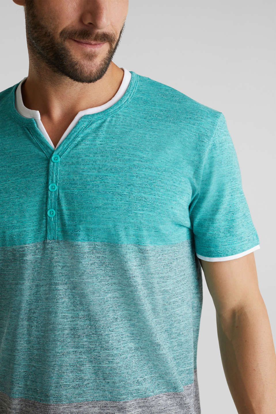 Henley top in jersey with layered details, AQUA GREEN 5, detail image number 1