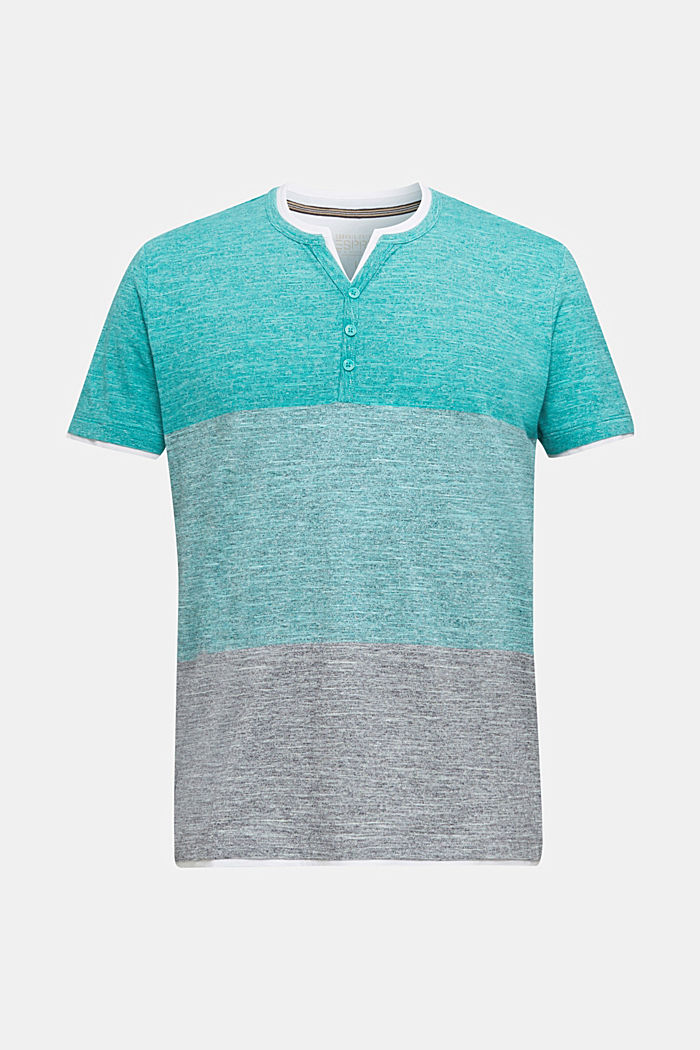 Henley top in jersey with layered details, AQUA GREEN, detail image number 7
