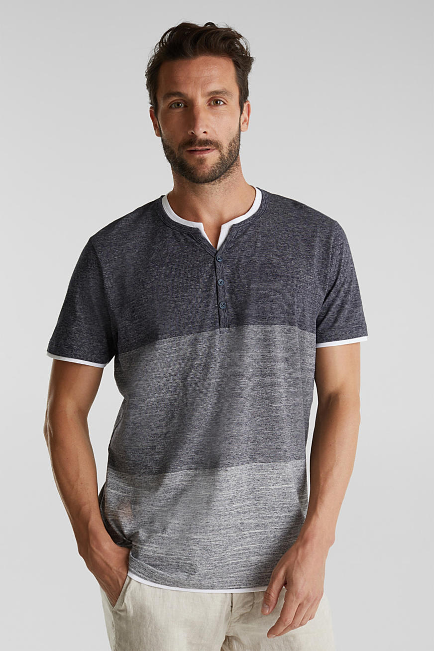 Henley top in jersey with layered details