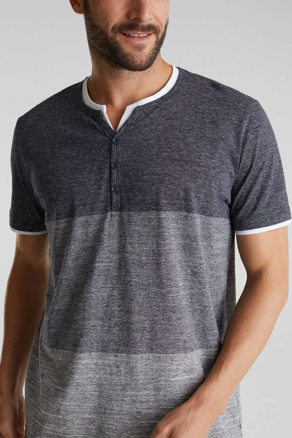 Henley top in jersey with layered details, NAVY 5, detail image number 1
