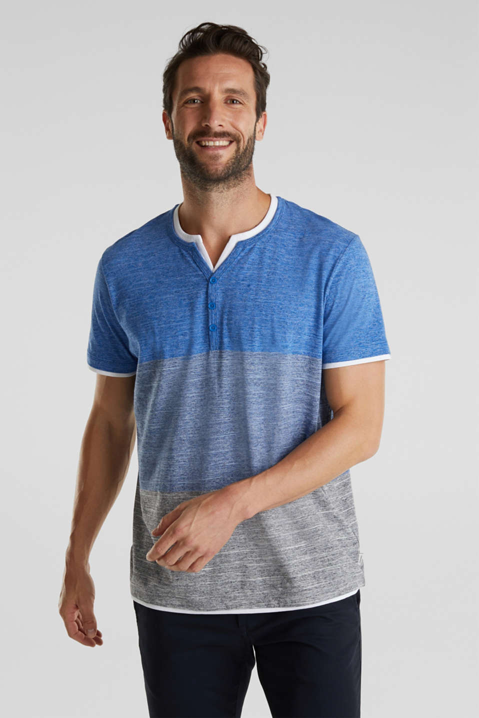 Henley top in jersey with layered details, BLUE 5, detail image number 0