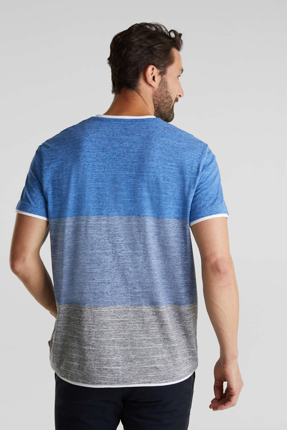 Henley top in jersey with layered details, BLUE 5, detail image number 3