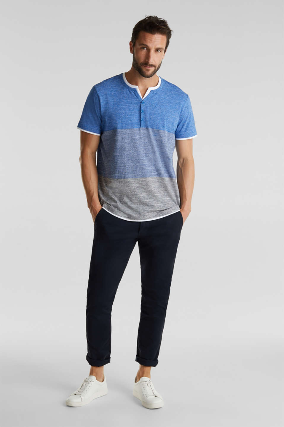 Henley top in jersey with layered details, BLUE 5, detail image number 2